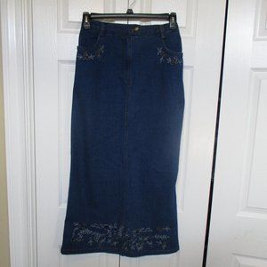 Susan Graver denim jean maxi skirt size medium